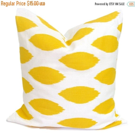 YELLOW PILLOW.20x20 inch.Pillow Cover.Decorative Pillows.Yellow Throw Pillow Covers.Housewares.Yellow Ikat.Spots.Dots.Yellow Cushions.Pillow