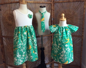 BROTHER SISTER SET- flutter sleeve dress or tank dress with matching tie ...choose any fabrics on our site...sizes 6 mo-7/8