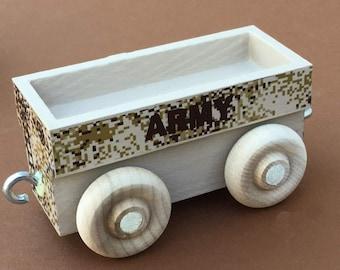 Wooden Toy Train Gondola Car for Army Train, Desert Camouflage