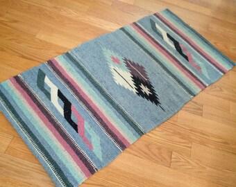 Vintage Arizona Navajo Banded Diamond Native American Indian Rug Carpet Sky Blue