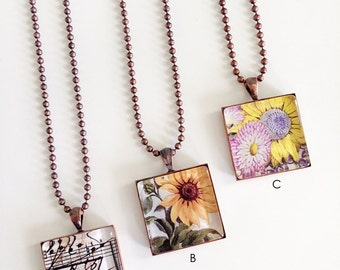 Antique Copper Glass Image Necklace, Floral Necklace, Music Necklace, Ball Chain Necklace