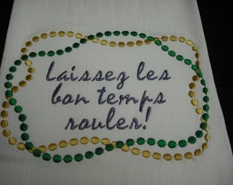 Mardi Gras flour sack towel. Machine embroidered.