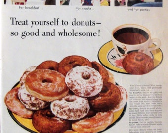 Treat Yourself To Donuts! Original Vintage Magazine Ad Bakers Of America Kitchen Print Vintage Housewife Kitchen Decor Ready To Frame