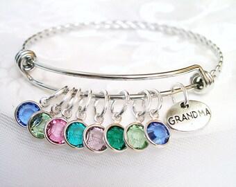 Mother's Birthstone Bracelet Nana Gift Family Tree Charm for Grandmother Birthstone Bangle Present for New Mom Gift for Grandmother Gift