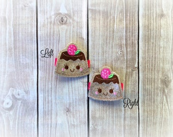 Cake Hair clip Desert hair clippie Pick one or two. Pick Left side or Right.