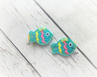 Fish Hair Clip Tropical Fish Hair Clippie Fishing Clip Festive Fish Hair clip Pick one or two. Pick Left side or Right.