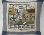 Nautical Summer Seashore Cross Stitch Pillow Lighthouse Patriotic
