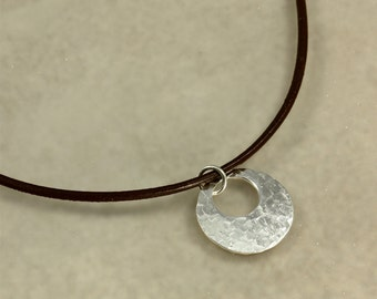 Hammered Silver Washer Necklace with Leather Cord, Hammered Sterling Silver, Southwestern Necklace, Hammered Silver Necklace