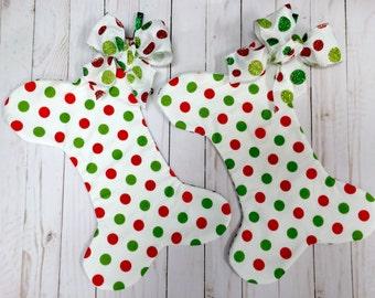 Dog Bone Christmas Stocking, Red Green Polka Dot Dog bone Christmas Stocking, Pet Stocking, Dog Bone Christmas Pet Stocking
