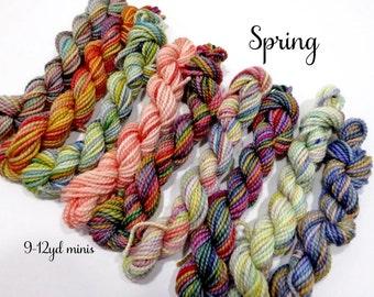 Spring - Sock yarn miniskeins, 12 yds each