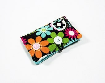Cosmo Paisley Fabric Business Card Holder, with Washed Turquoise Pin Dot - Credit Card Holder, Cloth Card Holder, Gift Card Holder