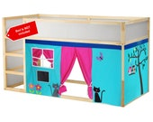 Owl Bed Playhouse / Bed tent / Loft bed curtain - free design and colors customization