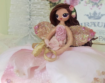 Rose fairy Fairy doll ornament fairy doll with porcelain rose