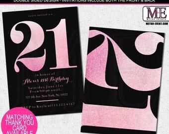 Pink Glitter 21st Birthday Invitations