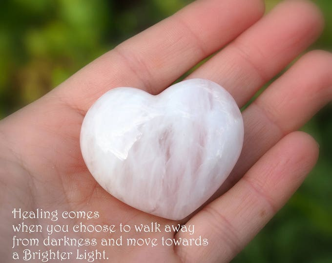 Rose Quartz heart Large Palm stone