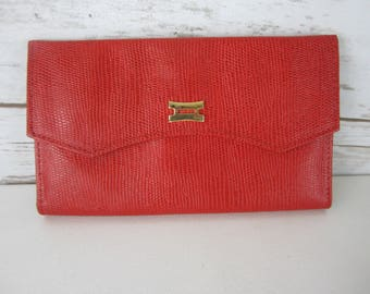 Vintage Princess Gardner Leather Wallet - Red Trifold Clutch Style With Snap Coin Section - Women's Accessory Gold Tone Hardware Checkbook