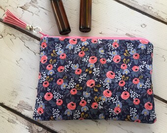 Ready to ship Rifle Paper Co fabric, Essential oil bag, Travel bag, holds 6-8