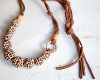 cappuccino ring nursing necklace  - Sling Accessory - breastfeeding necklace - Crochet Jewelry for New Moms - coconut ring