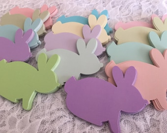 Bunny Rabbit Die Cuts, Paper Bunny Shapes, Easter Party Decoration, Paper Cut Outs - 3 Inch Rabbits, Set of 12