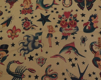 """Alexander Henry """"Tattoo"""" Fabric - Natural color 1 Yard"""