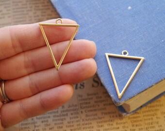 5pcs Gold Triangle Pendant Triangular Charms 35mm (GC3092)