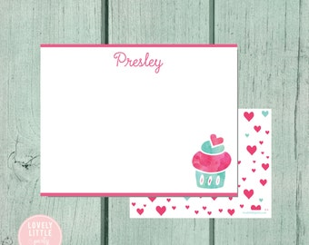 Cupcake Stationery, Kids Stationery, Cupcake Hearts Personalized Notecards, notecards, Girls Birthday Gift, Girls Gift - Lovely Little Party