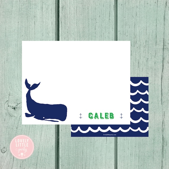 Whale Stationery, Kids Stationery, Nautical Personalized Notecards, Kids notecards, Boy Birthday Gift, Boys Gift - Lovely Little Party