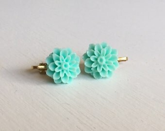 Mint Dahlia Clip On Earrings