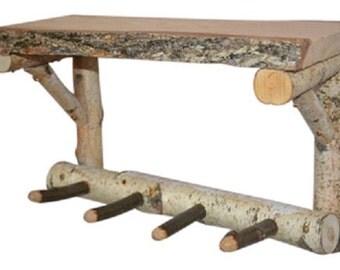 Rustic Birch Log Shelf with pegs