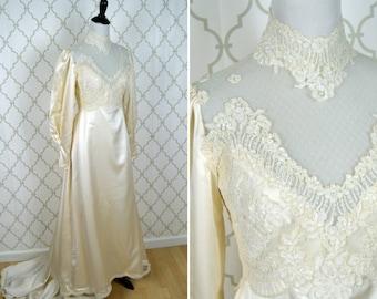 Vintage 1970's Satin Lace Wedding Dress - Satin Edwardian Style Wedding Gown - Vintage Wedding - Ladies size Small