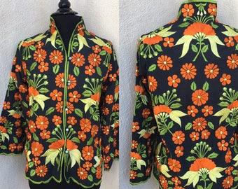 Vintage Embroidered blouse jacket black cotton green orange yellow floral sz  M L