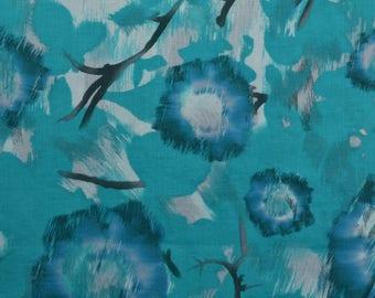 Turquoise Floral Fabric, Linen Blend, Cotton Linen Fabric, Bold Flowers, Turquoise Fabric - 1 3/4 Yard - CFL2260