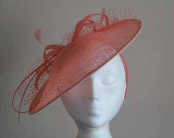 Large Coral Saucer Sinamay Fascinator Formal Hat, Ascot, Mother of the Bride, Regatta, Melbourne Cup, Kentucky Derby, Royal Ascot