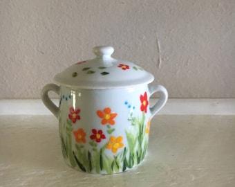 Vintage Apilco Porcelain Jar With Lid & Handles, Painted Sugar Jar, Floral Jelly Jar