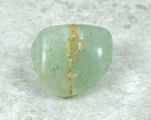 Kintsugi (kintsukuroi) green aventurine tumbled stone with gold repair - OOAK