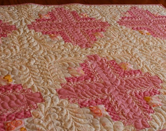 Baby Quilts for Sale - Soft Pink - Baby Girl Quilt - Baby Shower Gift - Homemade Patchwork Quilt