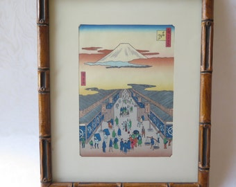 Utagawa Hiroshige Framed Japanese Woodblock Print Suruga-cho No. 8 One Hundred Famous Views of Edo 9 1856 Faux Bamboo Frame Mt Fuji