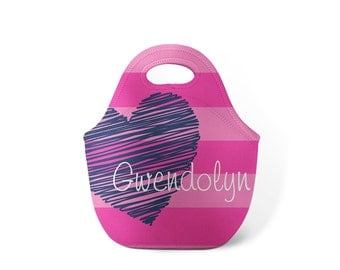 Personalized Lunch Tote - Sketch Heart - Custom Lunch tote for Children
