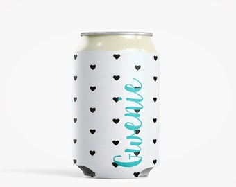 Personalized Can Insulator, DIY Custom Bottle Insulated Beverage Container, Hearts Black and White