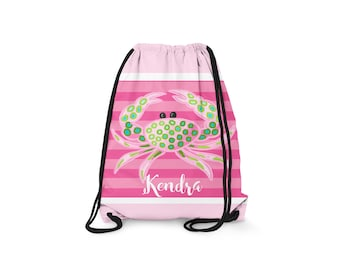 Personalized Drawstring Backpack - Lobster Love - Personalized Kids Drawstring Bag