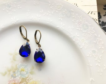 Sapphire Blue Vintage Glass Jewel Dangle Earrings, Blue Drop Earrings, Simple Dangle Earrings, Hypoallergenic, Nickel Free, Antique Bronze