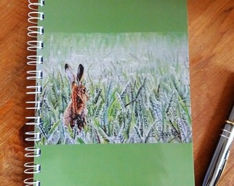 Hare in a Green Field Portrait A5 Sketch Book - Waiting on a Whisper - 80 page 100gsm cartridge paper ring bound note book laminated cover