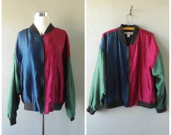 Color Block Silk Bomber Jacket | Vintage 90s Hip Hop Oversize Baggy Womens Coat Size L/Large Hipster Boho Lightweight Top 1990s Retro Tops