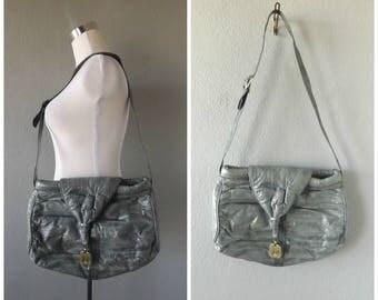gray eel skin purse | vintage 80s oversize crossbody shoulder bag minimal large tote bags hippie boho 1980s satchel messenger handbag hippy