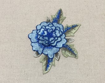 Blue Flower Embroidered Appliques 3D Flower Patch
