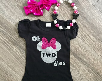 FREE SHIPPING!  Minnie Mouse Birthday Outfit, Oh Twodles Shirt, Minnie Mouse 2nd Birthday Shirt, Girls 2nd Birthday Shirt