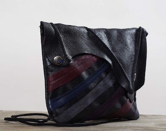 Twisted Leather Clutch -  Women's Leather Clutch - Leather Clutch Purse - OOAK Leather Clutch Purse - Up-cycled Leather Clutch