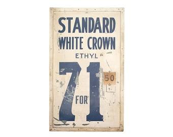 Vintage Original 1940's Standard Gasoline Metal Gas Pricer Sign With Wood Frame