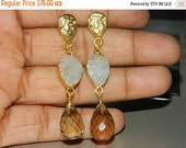20%off. Earring-Druzy Earring-Smokey quartz Faceted drop earring-Gold edge Druzy Agate Slice Earring Natural Druzy Slice-Electroplated-Gold