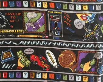 "Vintage Nicole Miller 1-800-Collect Telephone Extra Large 42"" Square Silk Scarf 1996"